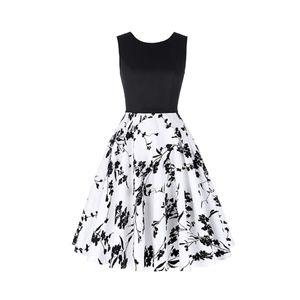 Black-Floral Boatneck Vintage Tea Belted Dress